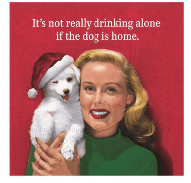 Drinking Alone Christmas Dog Beverage Napkins