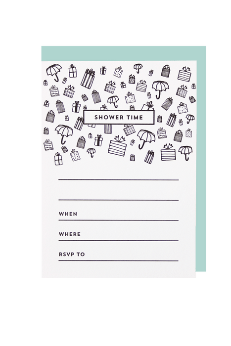Shower LetterPress Blank Invite - Set of 6