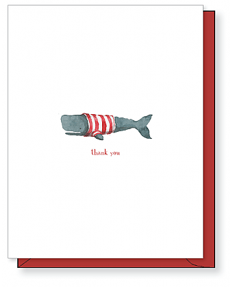 Stripey Whale Thank You Card
