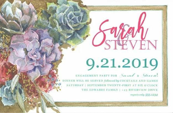 Succulents Blank Invitations