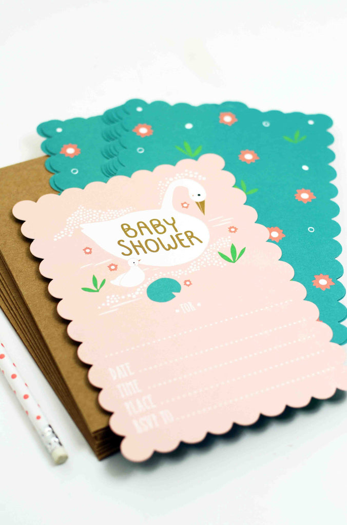 Swan Fill-In-The-Blank Baby Shower Invitation – Paper Luxe