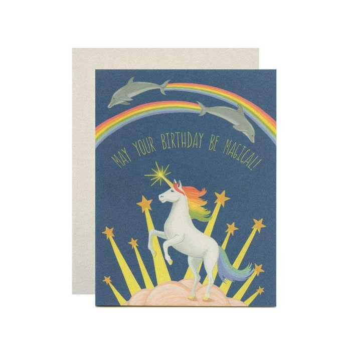 "Unicorn, Rainbows & Dolphins Birthday Card - ""May Your Birthday Be Magical!"""