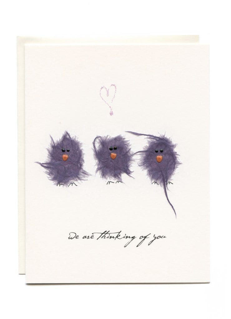 """We Are Thinking Of You"" Three Purple Birds"