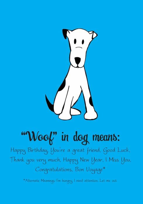 Woof in Dog Birthday Card