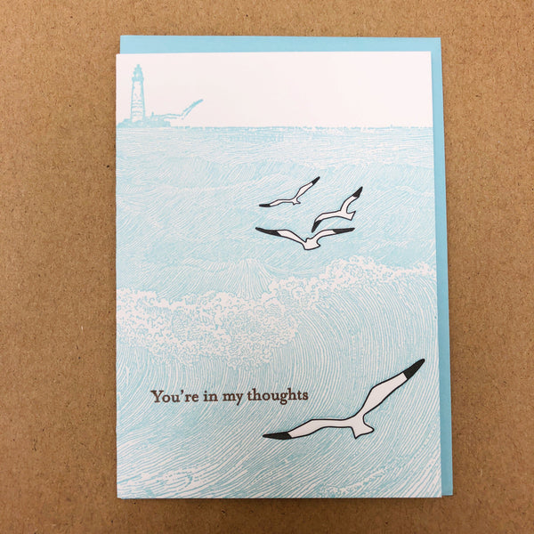 You're In My Thoughts Seagulls Letterpress Card
