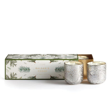 Balsam and Cedar Mini Luxe Sanded Mercury Glass Candles
