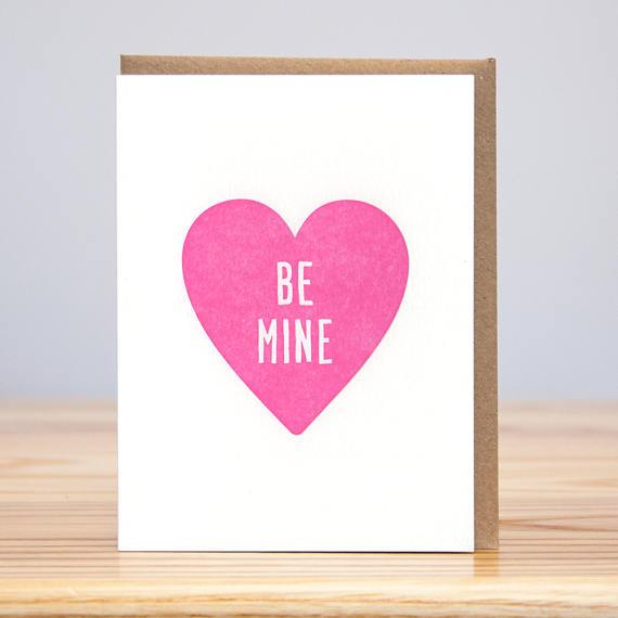 Be Mine Letterpress Heart Card