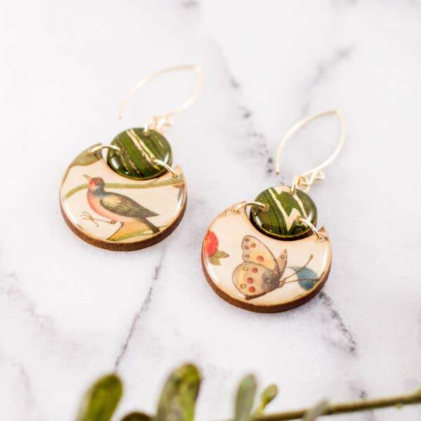 Bird + Butterfly Double Circle Brass Earrings