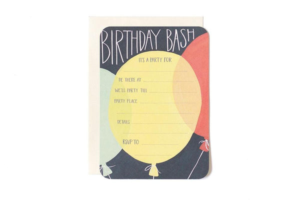Birthday Bash Balloons Fill in the Blank Invitations