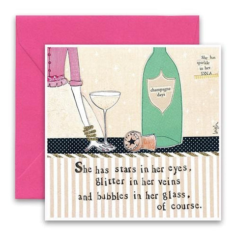Bubbles In Her Glass Greeting Card