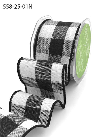 2.5 Inch Buffalo Check Ribbon with Wired Edge - White & Black