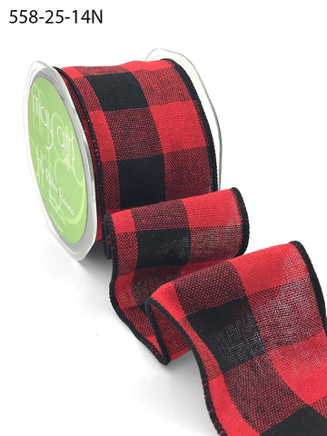 2.5 Inch Buffalo Check Ribbon with Wired Edge - Red & Black