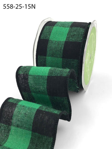2.5 Inch Buffalo Check Ribbon with Wired Edge - Green & Black