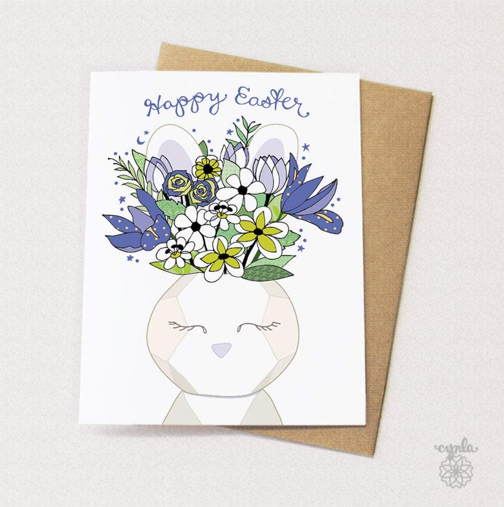 Bunny Vase Easter Card