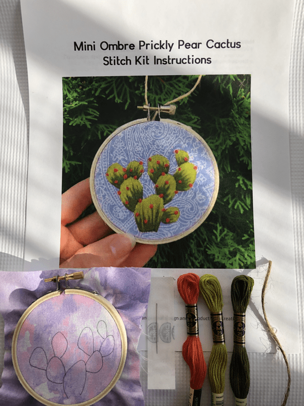 DIY Prickly Pear Cactus Beginner Embroidery Kit