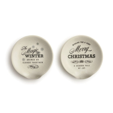 Black & White Christmas Spoon Rests - 2 Styles
