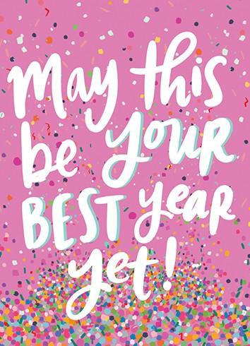 Pink Confetti New Year Card