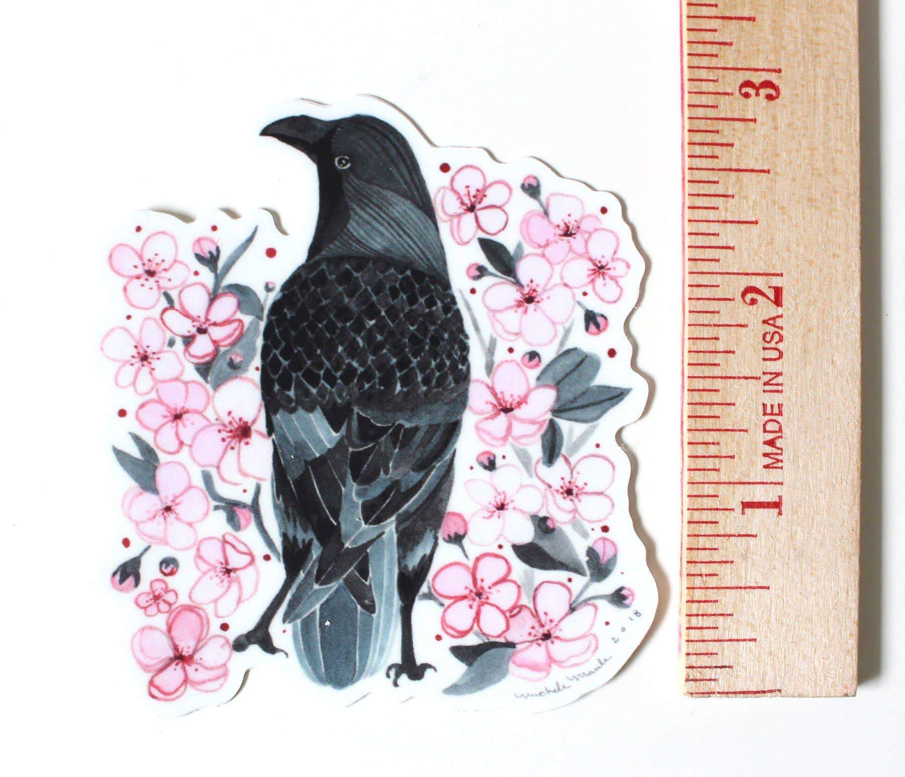 Crow with Blossoms Sticker