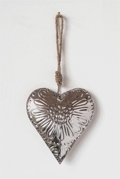 Embossed Metal Heart Ornament