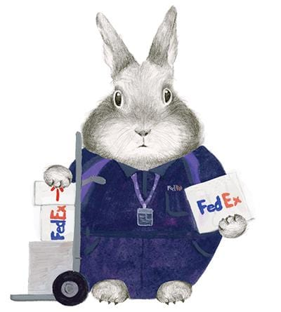Essential Worker - FedEx Bunny Card