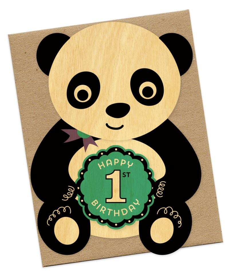 First Birthday Panda Wooden Card
