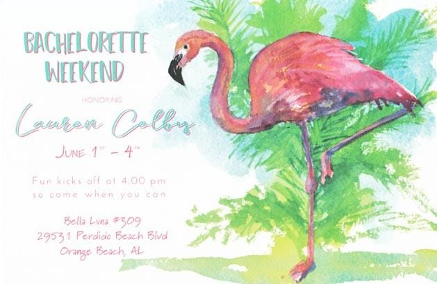 Flamingo Tango Blank Invitations