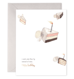 Flying Cake Birthday Card