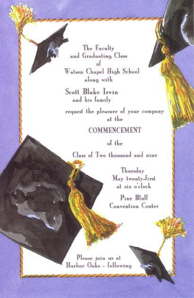 Flying Mortarboards Blank Invitations