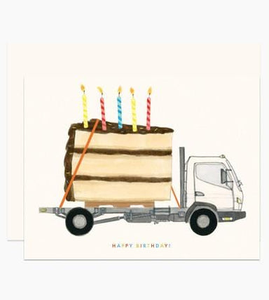 Big Happy Birthday Cake on a Truck Card