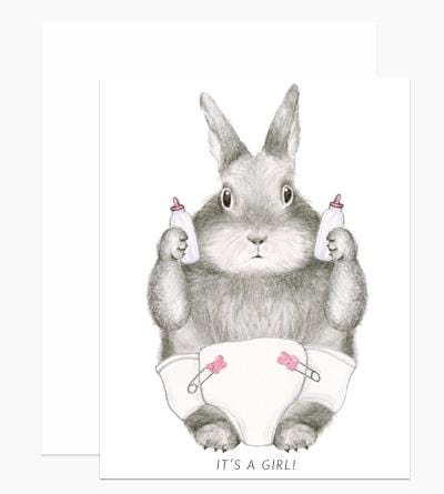 It's a Girl! Bunny New Baby Card