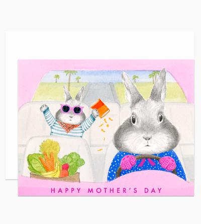 Mom Bunny Driving Card