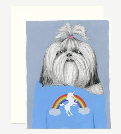 Shih Tzu in a Unicorn Tee Card