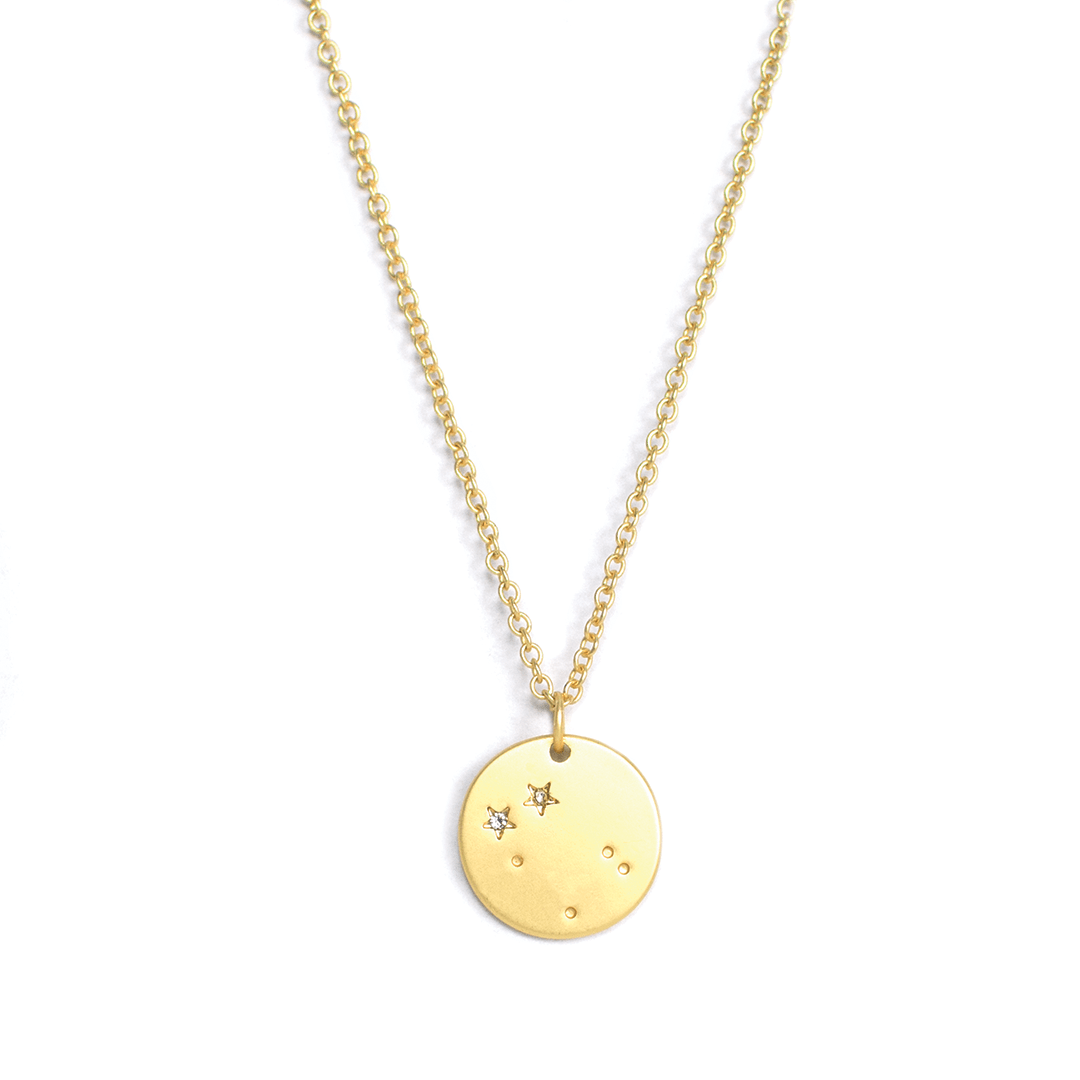 Lucky Feather Gemini Zodiac Sign Constellation Necklace