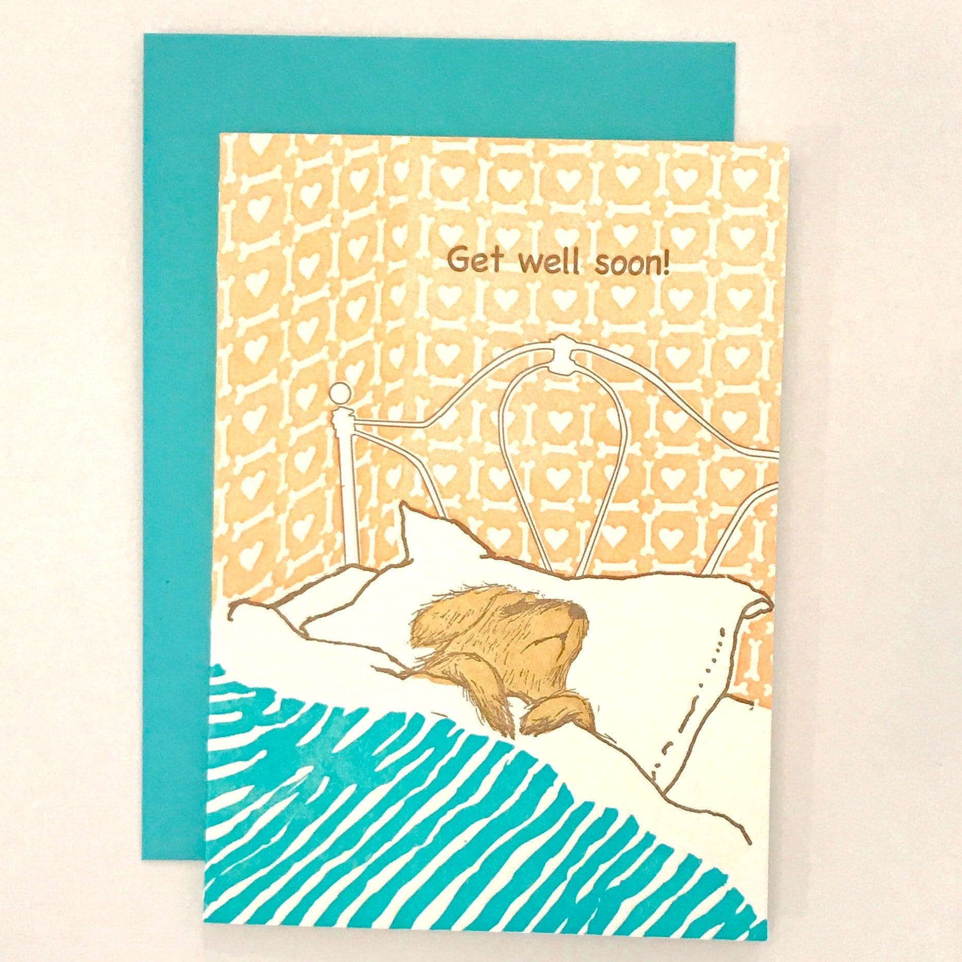 Get Well Soon Dog in Bed Letterpress Card