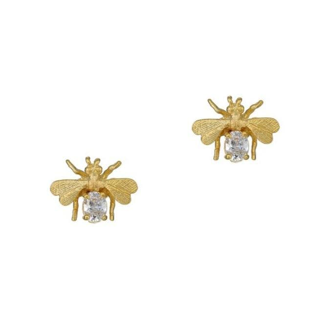 Gold Bee with Clear Crystal Stud Earrings