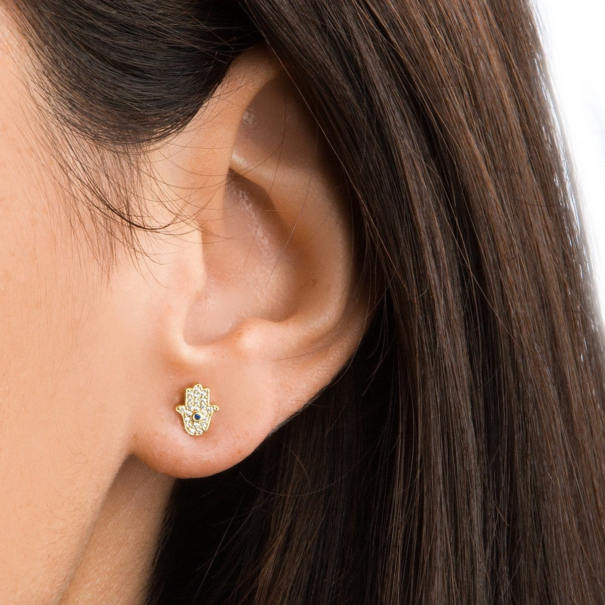 Pave Mini Hamsa Earrings - Gold