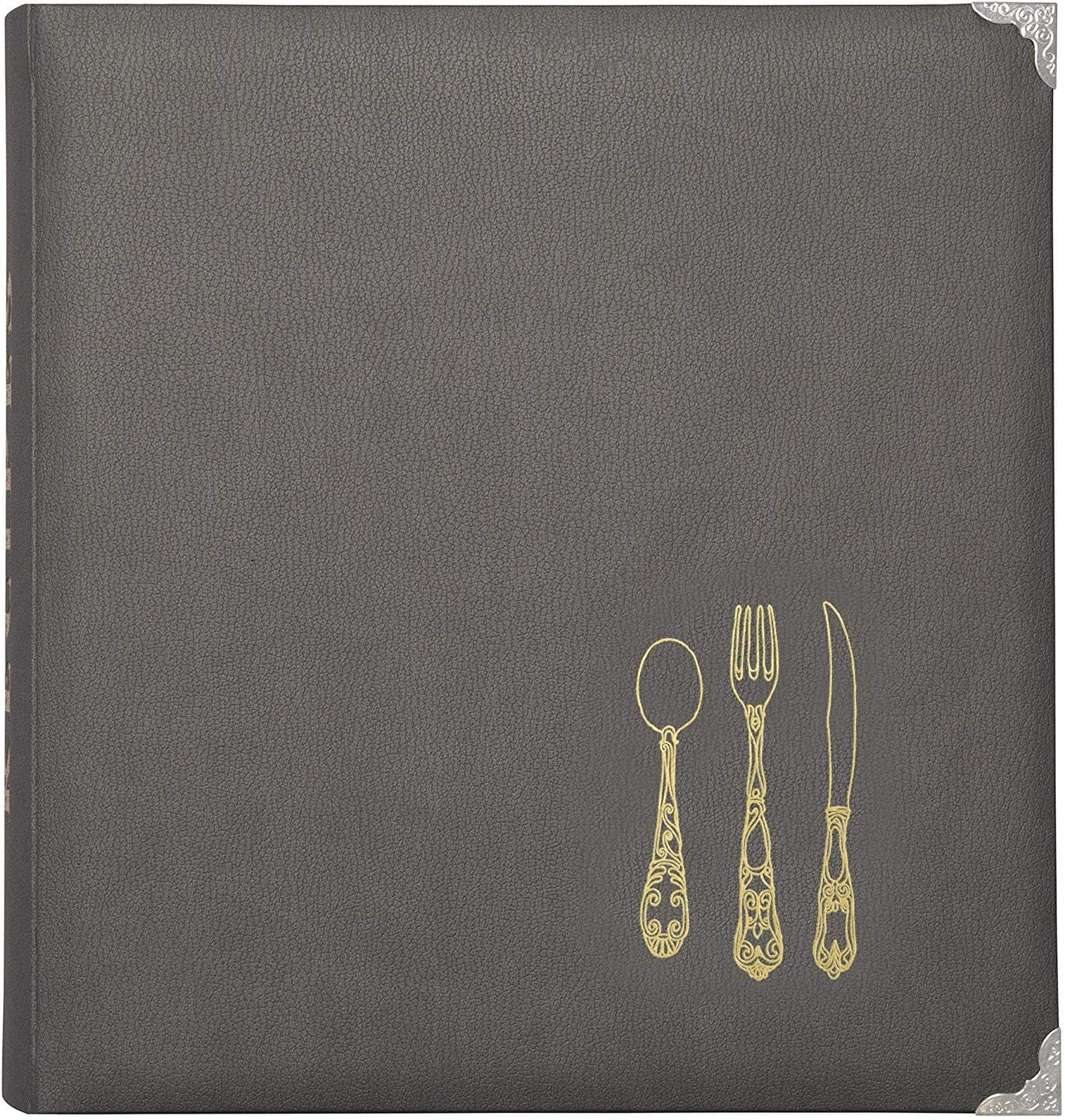 Gray Leatherette Lined Recipe Notebook