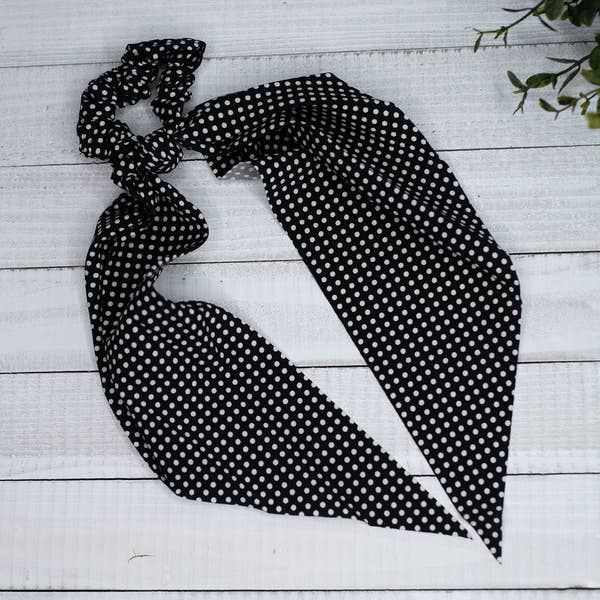 Scrunch Hair Scarf in Black Pin Dot