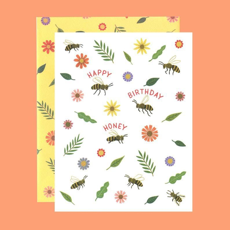 Honey Bee Birthday Card With Custom Envelope