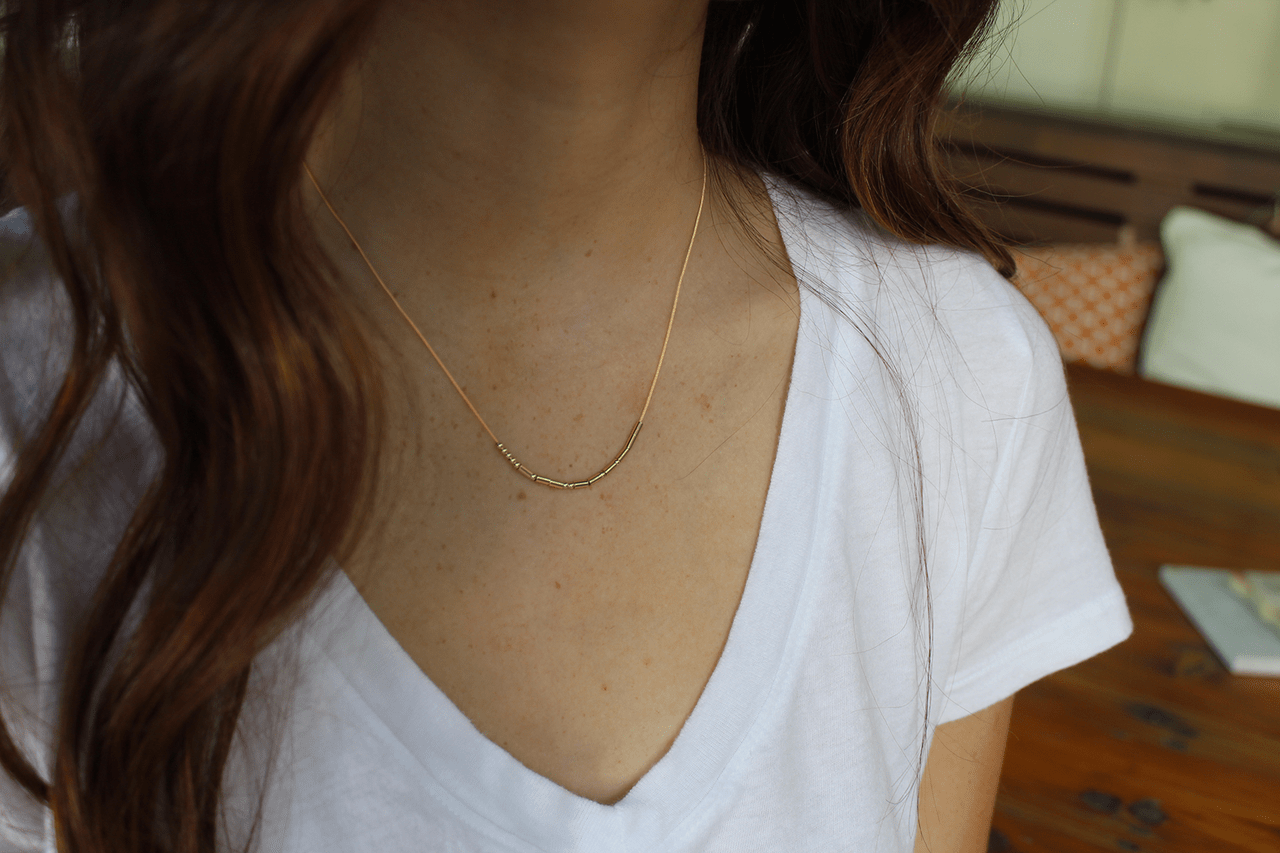 Morse Code Necklace - Gold - Happy