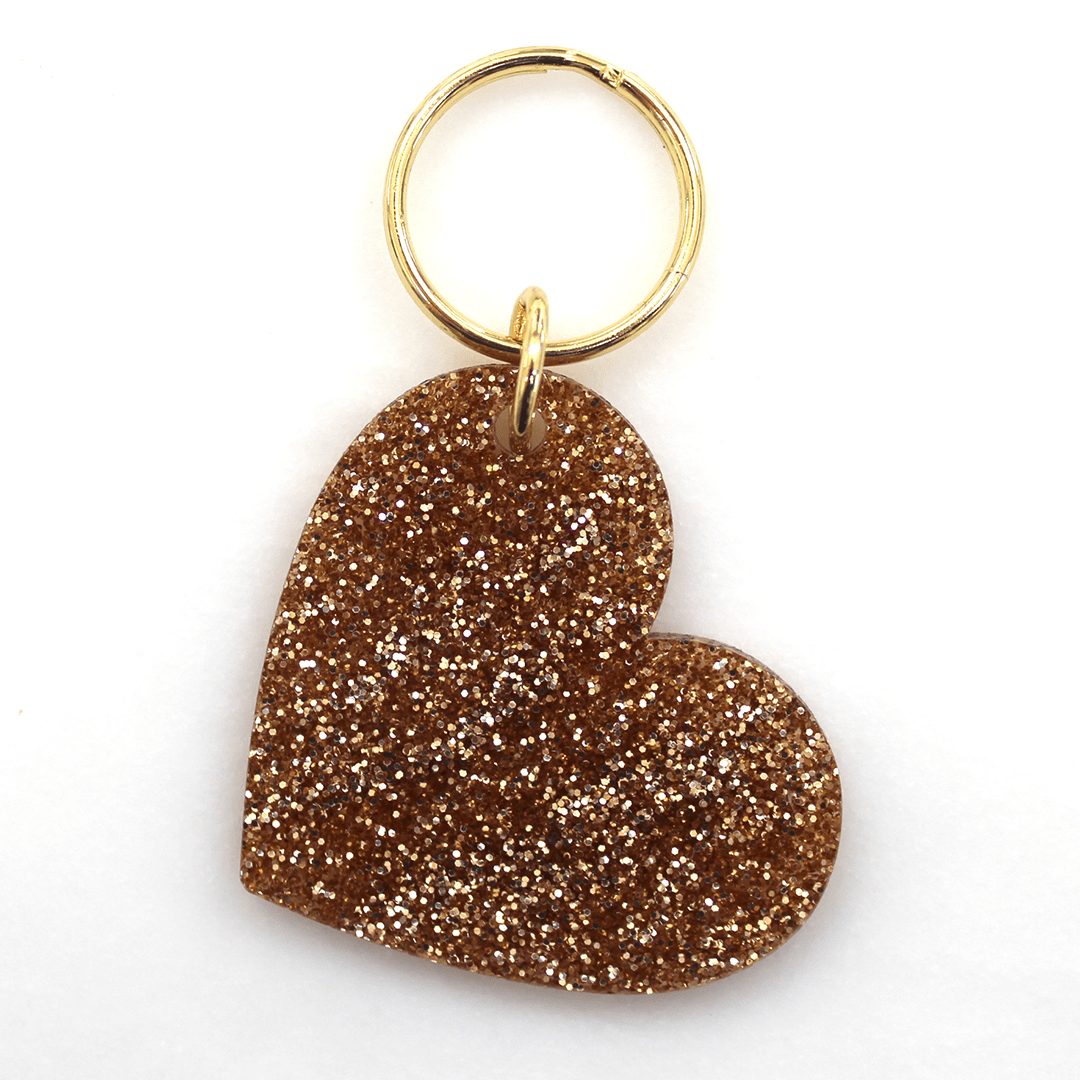 Gold Glitter Heart Key Chain