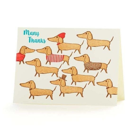 Many Thanks Dachshunds Boxed Card Set