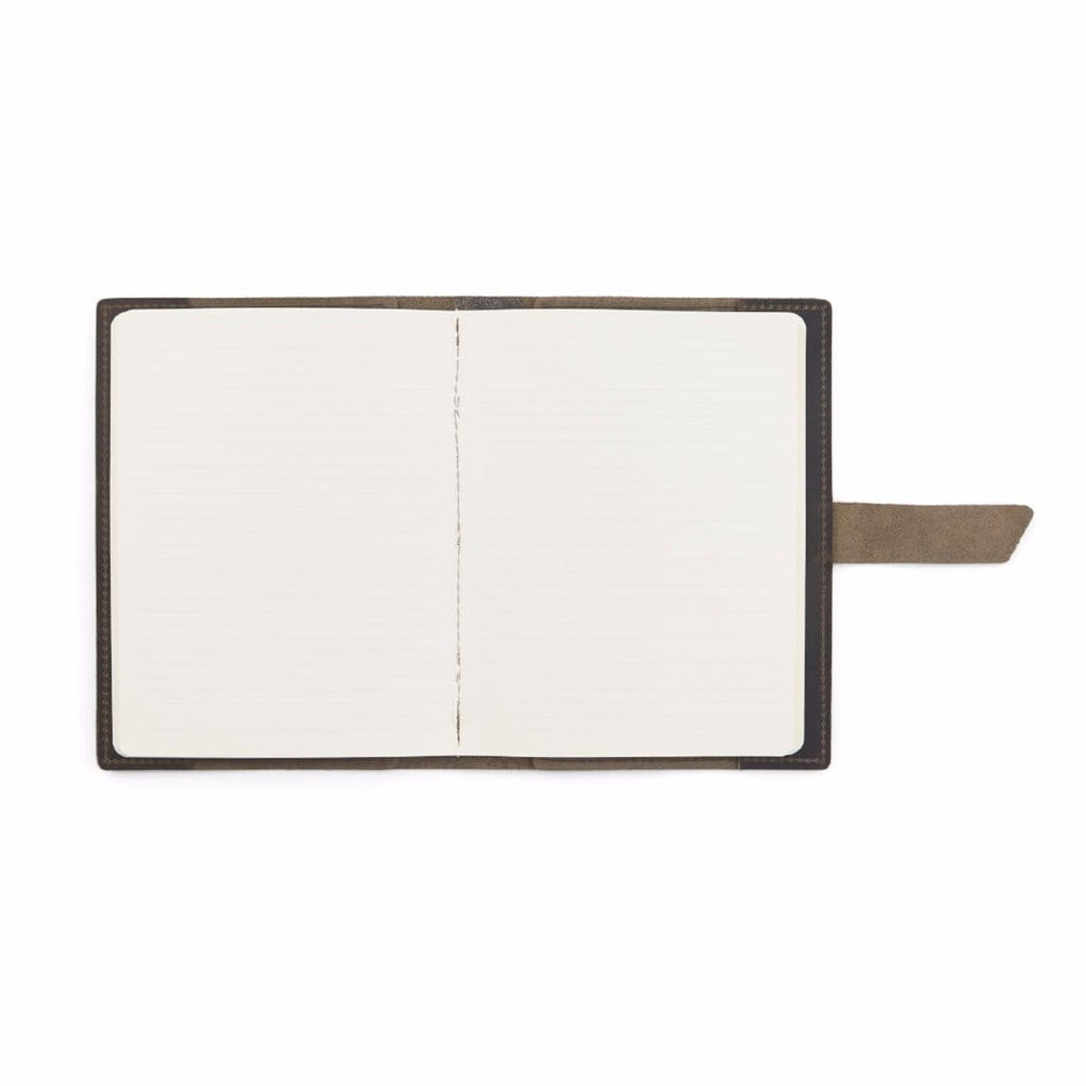 Large Leather Composition Notebook With Buckle - Stone