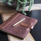Large Leather Composition Notebook With Buckle - Saddle