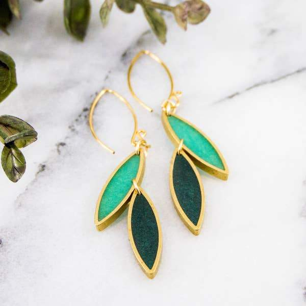 Spring Green Brass Leaf Earrings