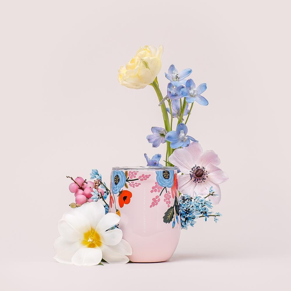 Rifle Paper Co. x Corkcicle Lively Floral Stemless Wine Tumbler - Blush