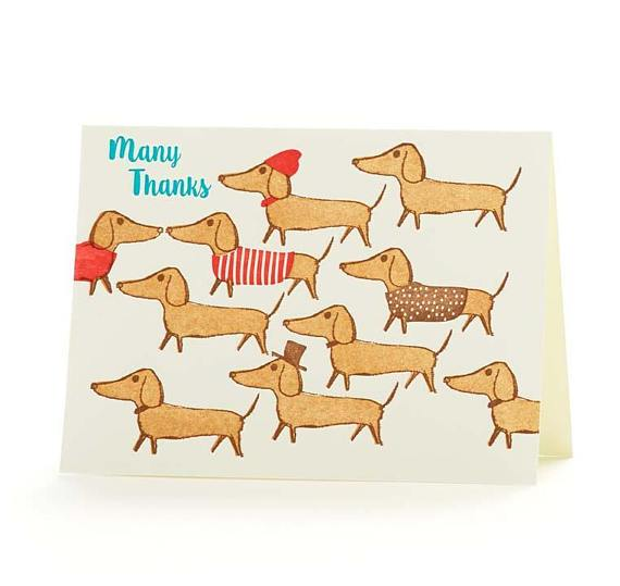 Many Thanks Dachshunds Card