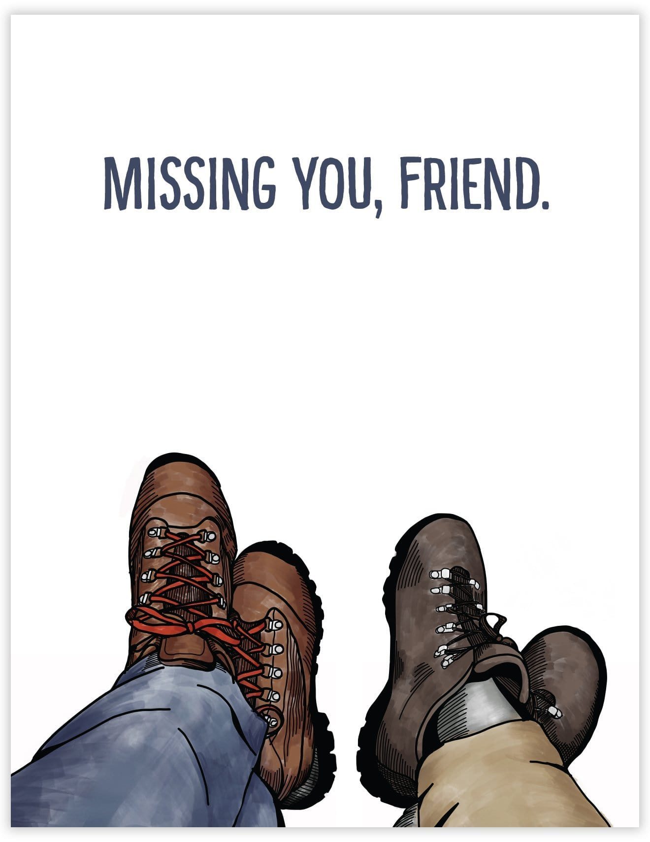 Missing You Hiking Boots Card