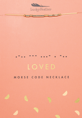 Gold Loved Morse Code Necklace