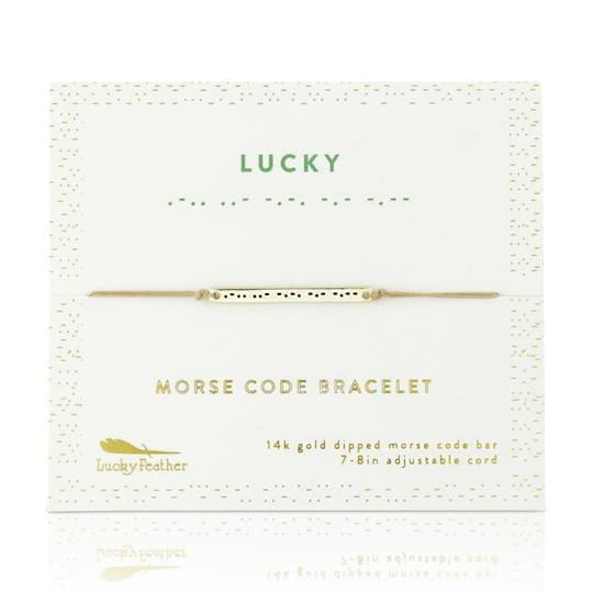 Gold Lucky Morse Code Bar Bracelet